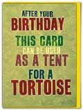 Tarjeta de cumpleaños para tienda de campaña de tortuga
