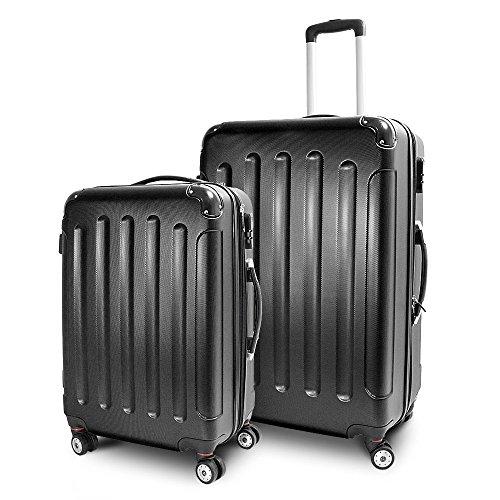 BERWIN® Kofferset L + XL 2-teilig Reisekoffer Trolley Hartschalenkoffer ABS Teleskopgriff Modell Stripes (Schwarz)
