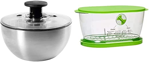 OXO Steel Salad Spinner & Prep Solutions by Progressive Lettuce Keeper Produce Storage Container, 4.7 Quarts