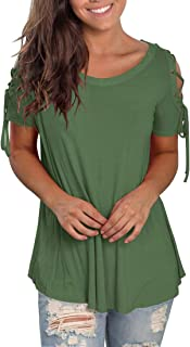 Short Sleeve T Shirts for Women Casual Cold Shoulder Tops