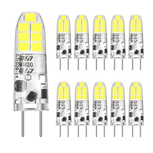 G4 LED kaltweiss 6000K, 12V AC/DC, 2W G4 LED Lamp Birnen Glühbirne Ersatz für 20W Halogenlampen, 360° Abstrahlwinkel Glühbirnen Kein Flimmern, Nicht Dimmbar, CRI>85, 190LM, 10er Pack,CHEERBEE