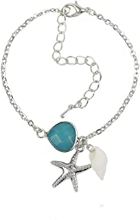 PONCTUEL ESCARGOT Women Wrist Bracelet Cute Starfish Conch Sea Animal Pendant Adjustable Link Bracelet