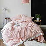 SUSYBAO 3 Pieces Vintage Ruffle Duvet Cover Set 100% Washed Cotton Queen Size Pink Stripe Princess Bedding with Zipper Ties 1 White Chic Lace Duvet Cover 2 Pillow Shams Luxury Quality Soft Comfortable