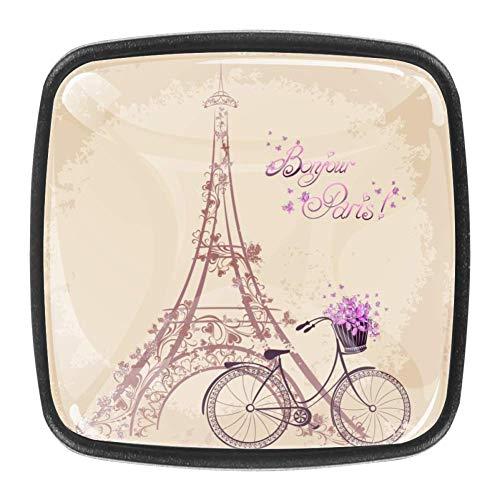 Bonjour - Pomos de cocina con diseño de torre Eiffel y bicicleta, 4 unidades