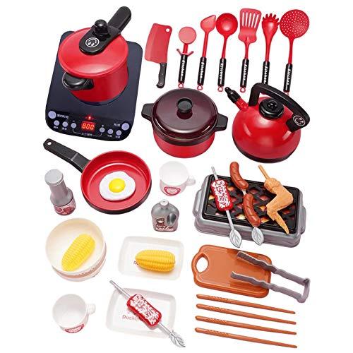 Juguetes de Cocina para niños de 36/50 Uds, cocina de inducción para niños, sartén, hervidor, olla a presión, juego de cocina, regalo para niños pequeños