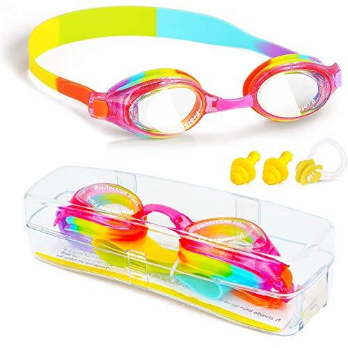 ProChosen, occhialini da nuoto per bambini, impermeabili, anti appannamento, protezione UVA/UVB, senza perdite, silicone, con custodia, clip per il naso, tappi per le orecchie, per ragazzi e ragazzi