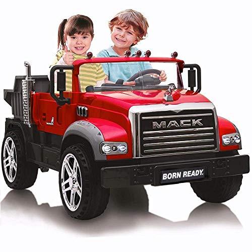 BPD Elektrisches Kinderauto Elektroauto Mack - Lizensiert - XXL LKW Kipper mit Kippmulde, Zweisitzer, 2x45W, 12V/10Ah Akku, Ledersitz, Eva-Reifen, Eltern-Fernbedienung