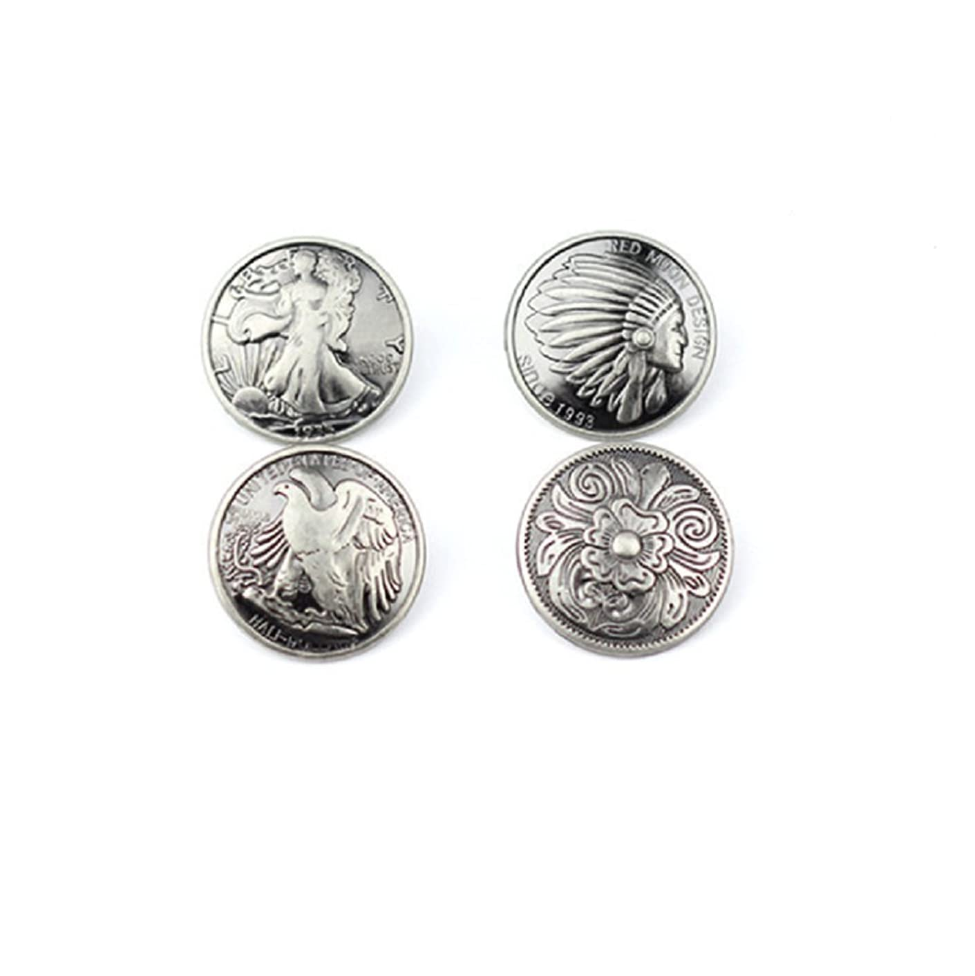 Driak 4pcs 30mm Silver Coin Button Indian button DIY manual leather accessories For Fashion Man Woman Belt and Bag Jewelry Accessories