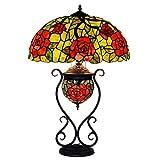 XYAN Moda de los artes tradicionales de cristal Lamp18 pulgadas hogar retro sala de estar lámpara de vidrio de color de la lámpara del dormitorio de la lámpara de Tiffany Lámpara de mesa de cama lámpa