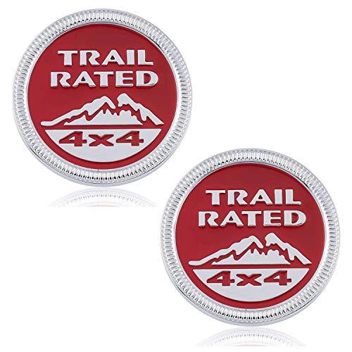 HAOXUAN 2Pcs Trail Rated 4x4 Etiqueta engomada de la Insignia del Emblema de Metal Apto para Jeep Wrangler Cherokee Liberty,Silver Red