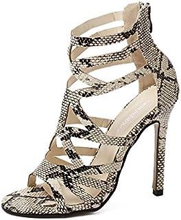 515a24d253d ZHZNVX Los nuevos zapatos de tacón alto verano estilo romano de cuero de  piel de serpiente