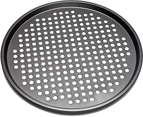 Perforated pizza pan Nonstick carbon steel 13 inches ,Pizza Crisper Pan NonStick Cake Pizza Crisper Tray Tool Stand for Home Kitchen Oven Dishwasher Restaurant Hotel Handmade Pizza Bakeware