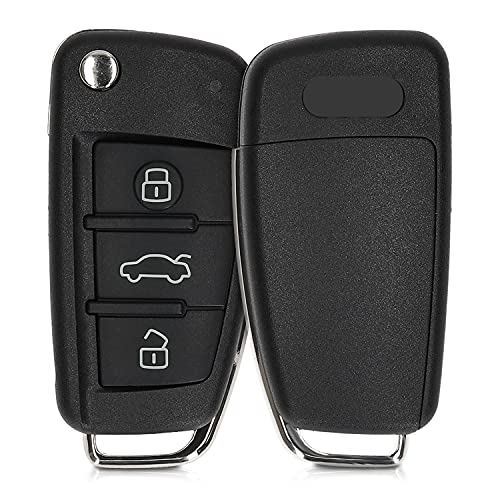 kwmobile Autoschlüssel Gehäuse kompatibel mit Audi 3-Tasten Klappschlüssel - ohne Transponder Batterien Elektronik - Auto Schlüsselgehäuse - Schwarz