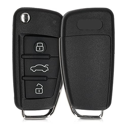 kwmobile Funda Llave Coche Compatible con Audi Llave de Coche Plegable de 3 Botones - Repuesto plástico Duro para Mando de Auto - Negro