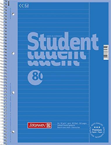 Brunnen 1067925133 Notizblock / Collegeblock Student Colour Code (A4 liniert, Lineatur 25, 90 g/m², 80 Blatt) blau