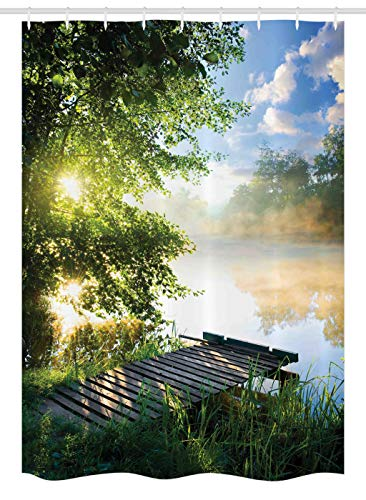 """Ambesonne Landscape Stall Shower Curtain, Fishing Pier by River in The Morning Clouds and Trees Nature Image, Fabric Bathroom Decor Set with Hooks, 54"""" X 78"""", Blue Green"""