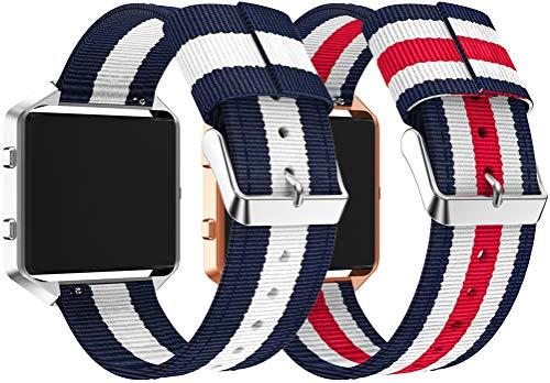 Nylon Trenzado Correa de Reloj Compatible con Fitbit Blaze, Clásicos exquisitos Pulseras de la Correa de los Hombres (2PCS F)