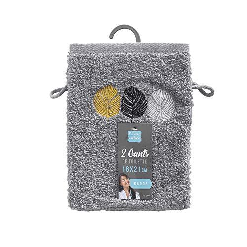 douceur d'intérieur 2 gants de toilette 16x21 cm eponge brodee fougerys gris