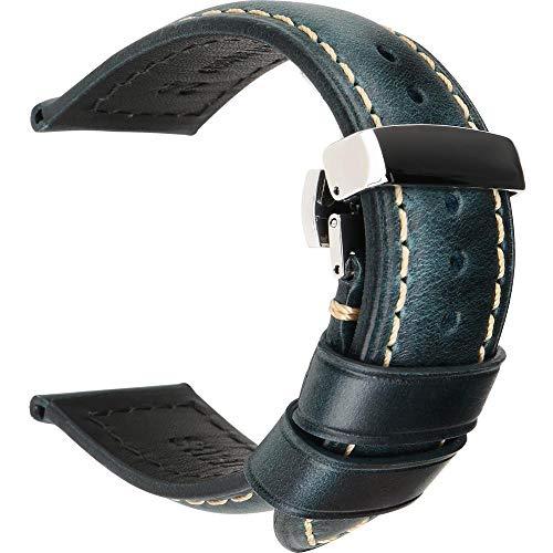 Correas de reloj de cuero 18 mm 20 mm 22 mm 24 mm Correa de reloj universal con hebilla de mariposa-Azul_S_26mm