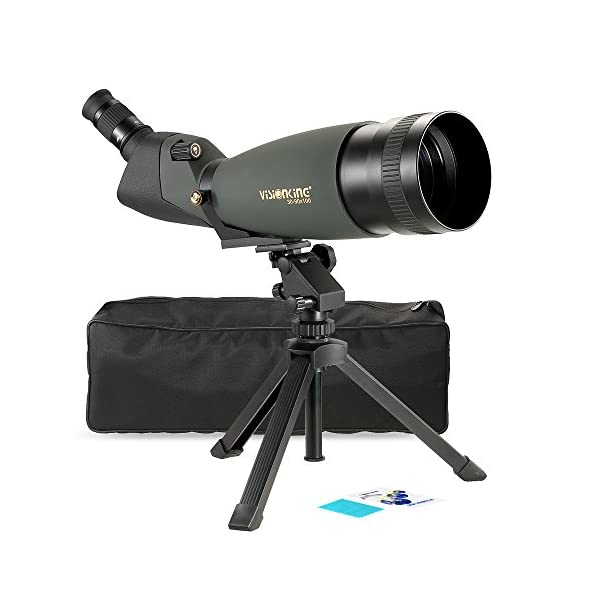 Lixada 30-90x100 Angled Spotting Scope, Portable Travel Scope Monocular Telescope,BaK4 Waterproof Fogproof Height Adjustable Monocular with Tripod Carry Case for Bird Watching Camping