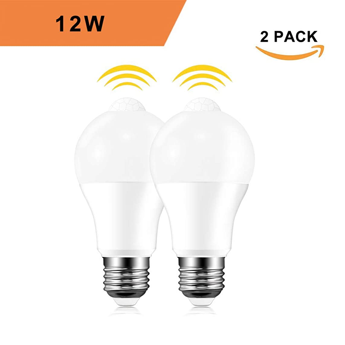 Motion Sensor Light Bulbs, 12W (100-Watt Equivalent) E26 Motion Activated Dusk to Dawn Security Light Bulb Outdoor/Indoor for Front Door Porch Garage Basement Hallway Closet(Cold White 2 Pack)