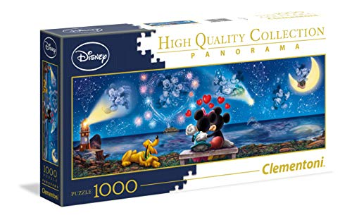 Clementoni- Disney Collection Puzzle 1000 Piezas Panorama Mickey Minnie (39449.4)