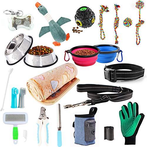 Welpen Starter Set, 24 teiliges Hundespielzeug-Set, bestehend aus: Hundemarke, Hundespielzeug, Futter und Bewässerungsmittel, Decken, Welpen-Trainingszubehör