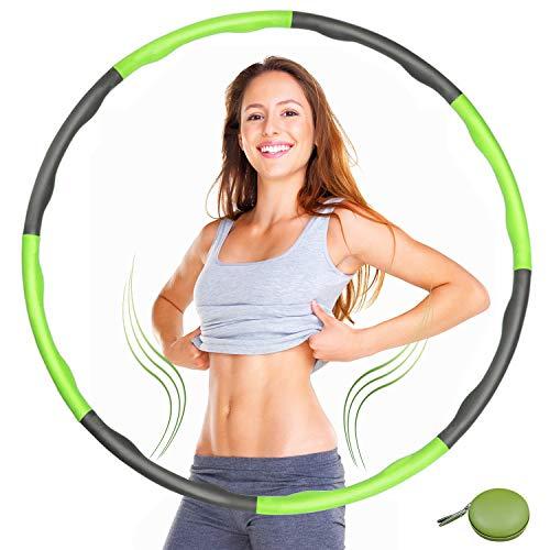 Tumax Hula Hoop Fitness Profesional con Espuma, Aro de Fitness con 8 Secciones, Tamaño Ajustable, Adecuado para Adultos, Niños, Principiantes, Uso en Casa o Exterior, Diseño de Onda 1,2 kg Ø95 cm