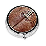Vintage Leather Football Pill Case,Compact 3 Compartment Medicine Case,Portable Round Travel Camping Pill Box for Pocket Or Purse