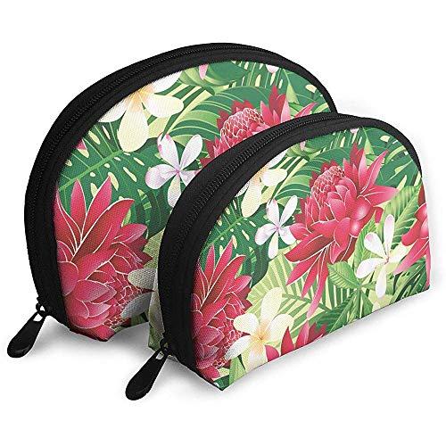 Hawaii Tropical Flower Art Bolsas portátiles Bolsa de Maquillaje Bolsa de Aseo, Bolsas de Viaje portátiles multifunción Pequeña Bolsa de Embrague de Maquillaje con Cremallera