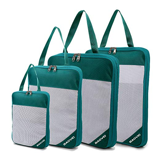 BAGVIO Compression Packing Cubes Set For Men women kids, Double Zipper Expandable Mesh Organizers use in Backpack Suitcase Duffle Hiking toiletry shoe bag. Travel Accessories organzier Set 4 (green)