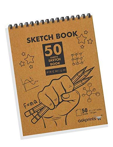 Askprints Top - Bloc de bocetos para artistas (50 hojas), diseño de papel sin ácidos, para dibujo y dibujo