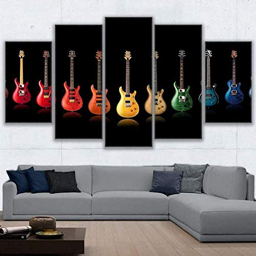 Djdasn 5 Pinturas Consecutivas Lienzo Pintura Pared Arte Foto 5 Panel Colorido Rock And Roll Guitarra Collage Fotos Para Sala Decoración Cartel Gimnasio cabecera Cuarto de los niños Fondo de la pared