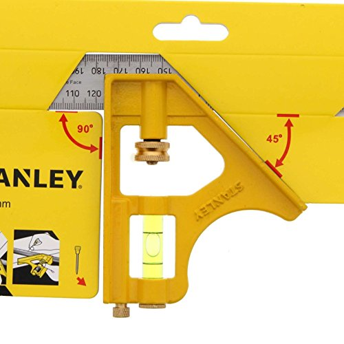 Stanley 2-46-143 Équerre à Combinaison Die-Cast multi-Usage 30x14x2 cm - Fiole Intégrée 360° - Graduation en mm et Pouces - Lame en Acier Inoxydable Résistant - Réglage Aisé