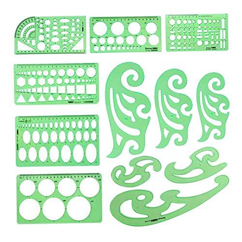 FAKEME Modelos de Desenhos Geométricos Réguas de Plástico Transparente para Estudar, Projetar, Construir