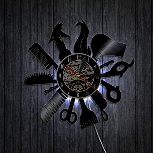 Barbershop vinyle horloge coiffeur coiffure salon de beauté salon de vinyle record mur horloge mur art cadeau à la main,Black,12inches
