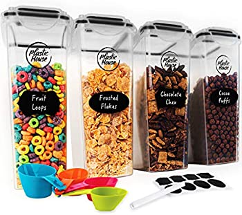 4-Pack Plastic House Airtight Cereal Container Set