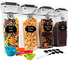 PLASTIC HOUSE Large Cereal Containers Storage Set Dispenser Approx. 4L FITS FULL STANDARD SIZE CEREAL BOX, Airtight...