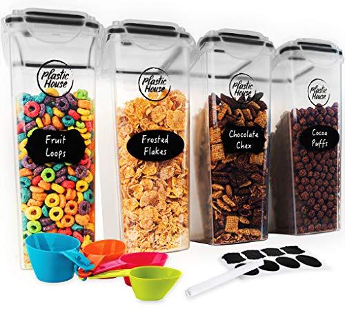 PLASTIC HOUSE Juego de recipientes grandes para cereales de 4 litros, se adapta a cajas de cereales de tamaño estándar, contenedor hermético para cereales para máxima frescura, sin BPA