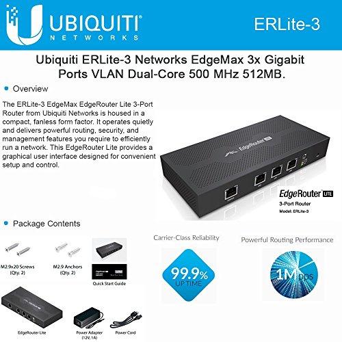 Ubiquiti EdgeMax EdgeRouter Lite ERLite-3 512MB Memory 3 Ethernet...