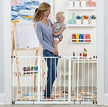 Regalo 56-Inch Extra WideSpan Walk Through Baby Gate Includes 4-Inch 8-Inch and 12-Inch Extension 4 Pack of Pressure Mounts and 4 Pack of Wall Cups and Mounting Kit White