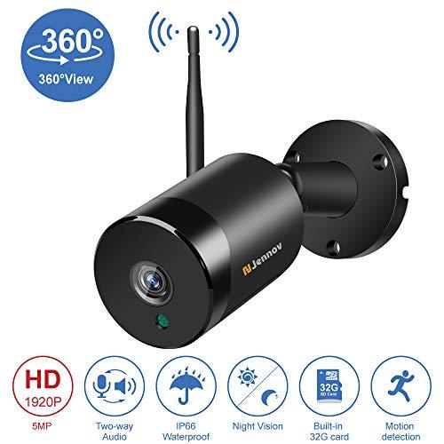 Jennov Überwachungskamera, kabellos, 5 MP, Zwei-Wege-Audio, 360 Grad, Panorama-Überwachungskamera mit Nachtsicht für Zuhause, vorinstalliert, 32 G Micro-SD-Karte