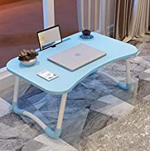 SkyWalker Smart Multi-Purpose Foldable and Portable Ergonomic and Rounded Edges, Non-Slip Legs Engineered Wood Laptop Table with Dock Stand (Blue)
