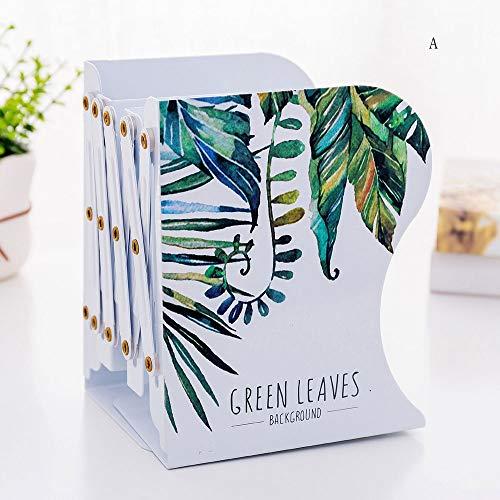 Yinglihua Office-boekenuiteinden Green Leaf Verstelbare metalen ijzeren bookends groot voor bibliotheek, kantoor, thuis, school en maak uw boeken organized