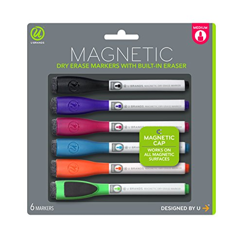 U Brands Low Odor Magnetic Dry Erase Markers With Erasers, Medium Point, Assorted Colors, 6-Count - 520U06-24