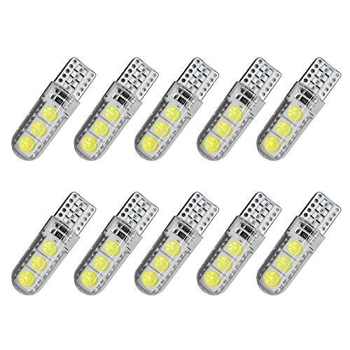 Bombilla LED LED T10 W5W 194 5050 6SMD Bombillas Silicona LED Luces de estacionamiento Placa de matrícula Lámparas de la lámpara Luz interior auto 10Pcs para la calle, garaje, iluminación de almacenes