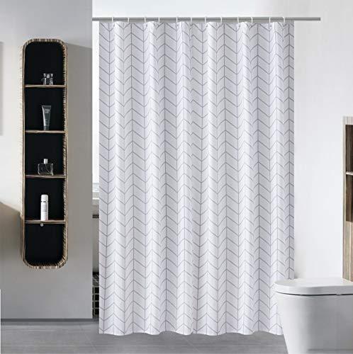 S·Lattye Luxus-Duschvorhang, wasserabweisend, waschbar, Hotelqualität, fre&lich, schwerer Saum, mit weißen Kunststoffhaken, 183 x 213,4 cm, extra lang, weißer Pfeil