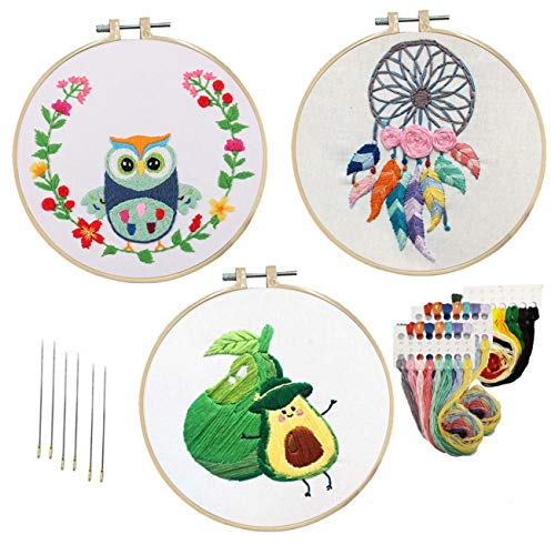 Nuberlic 3 Pack Embroidery Kit for Beginners, Full Range of Embroidery Kits with 3 Embroidery Cloth Cross Stitch Set for Adults