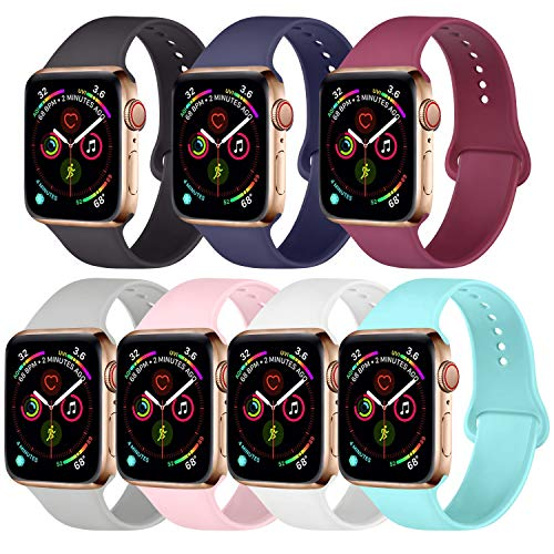 [Pack 7] Compatible with Apple Watch Band 38mm 40mm 42mm 44mm, Silicone Strap Sport Band Compatible with iWatch Series 4/3/2/1 (Black/Navy Blue/Wine Red/Gray/Pink/White/Light Blue, 42mm/44mm-S/M )