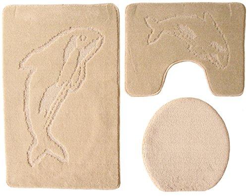 Ilkadim Delphin Badgarnitur 3 TLG. Set 55x85 cm einfarbig, WC Vorleger mit Ausschnitt für Stand-WC (beige)